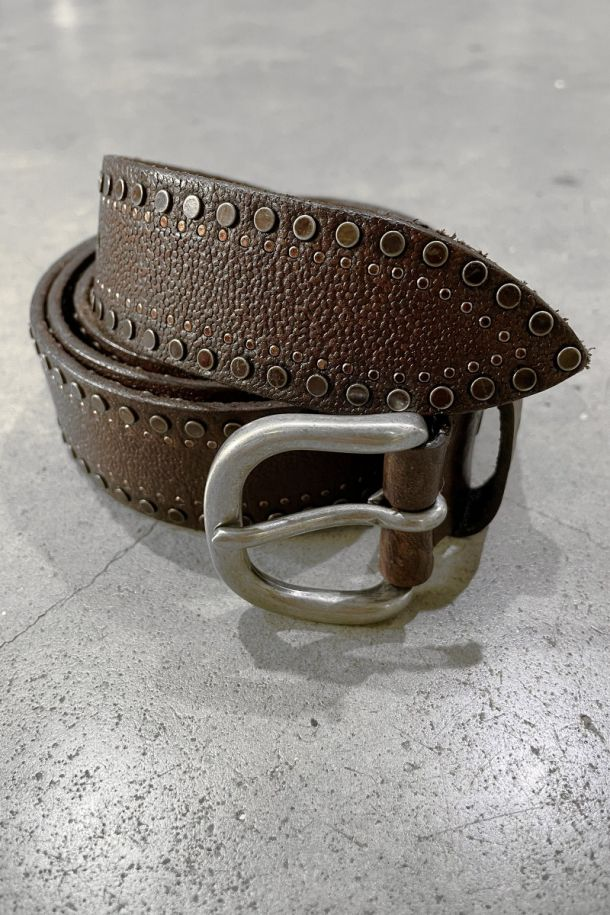 Men's brown leather belt with studs. MRS211C003MORO