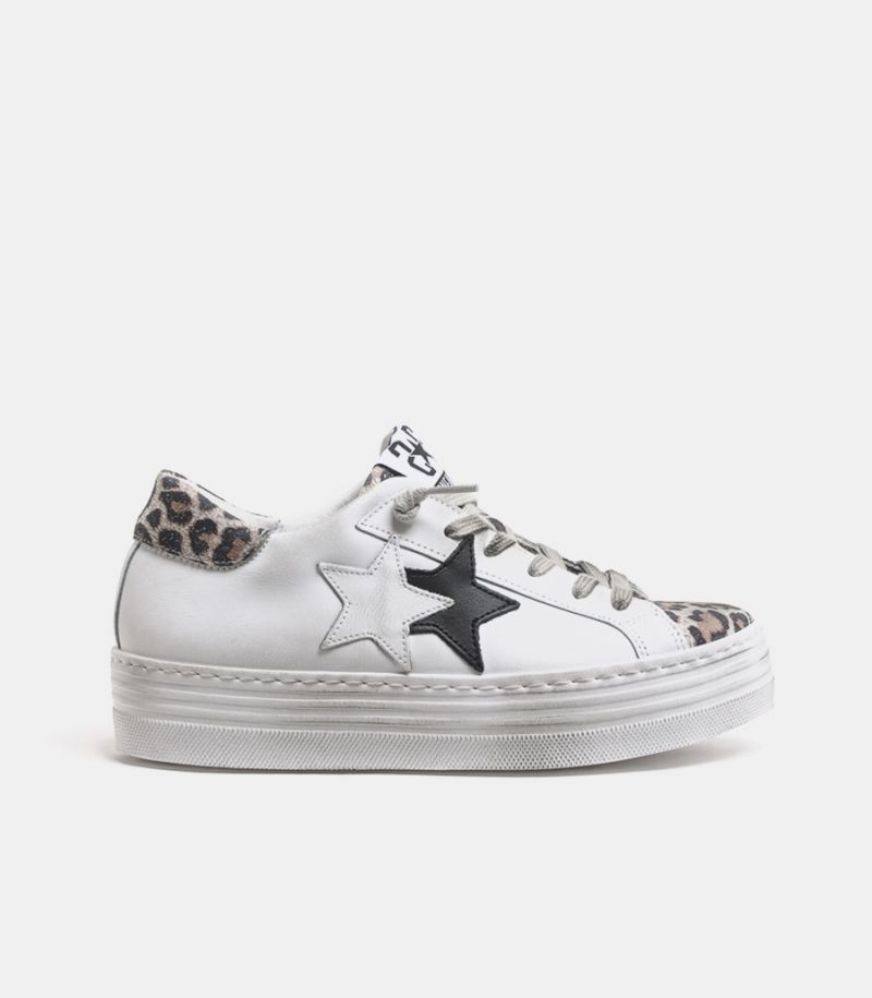 Women's double stars sneaker shoe white maculate.2SD2866-009