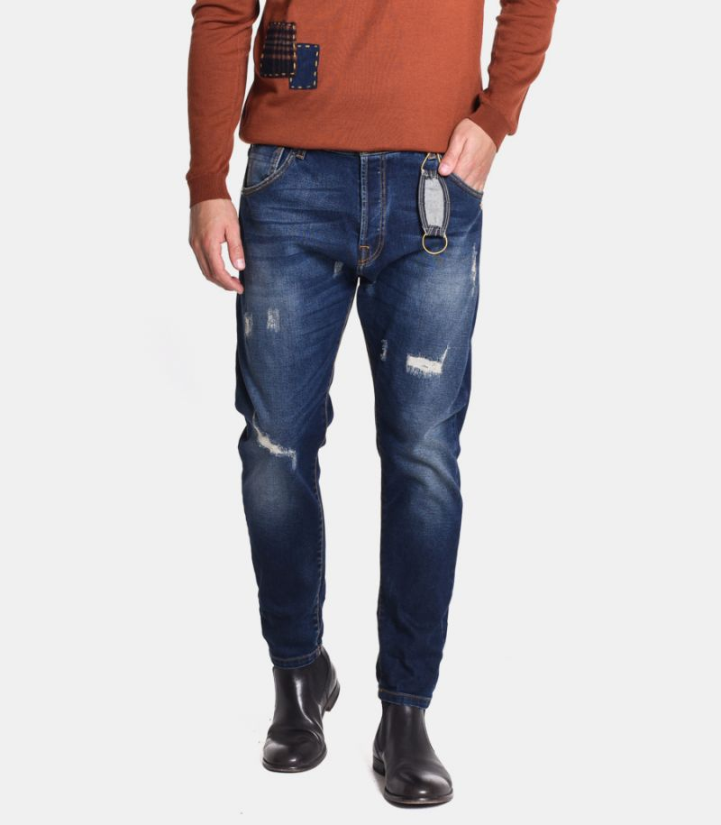 Men's rips and embroidery jeans blue. M205110-30