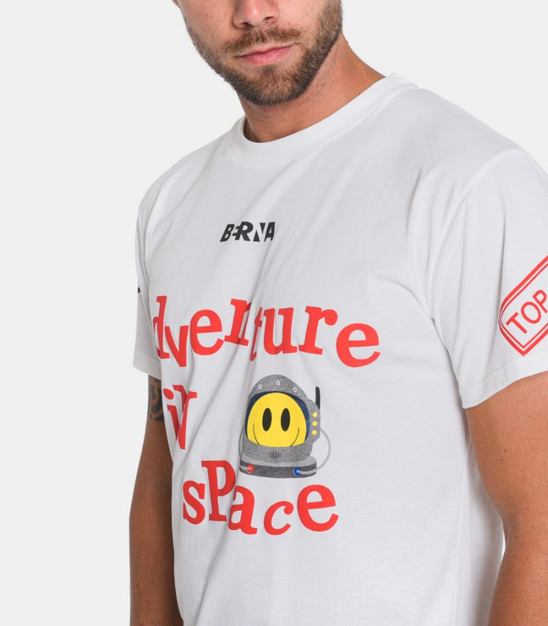 Men's Adventure in Space t-shirt white. M205142-128