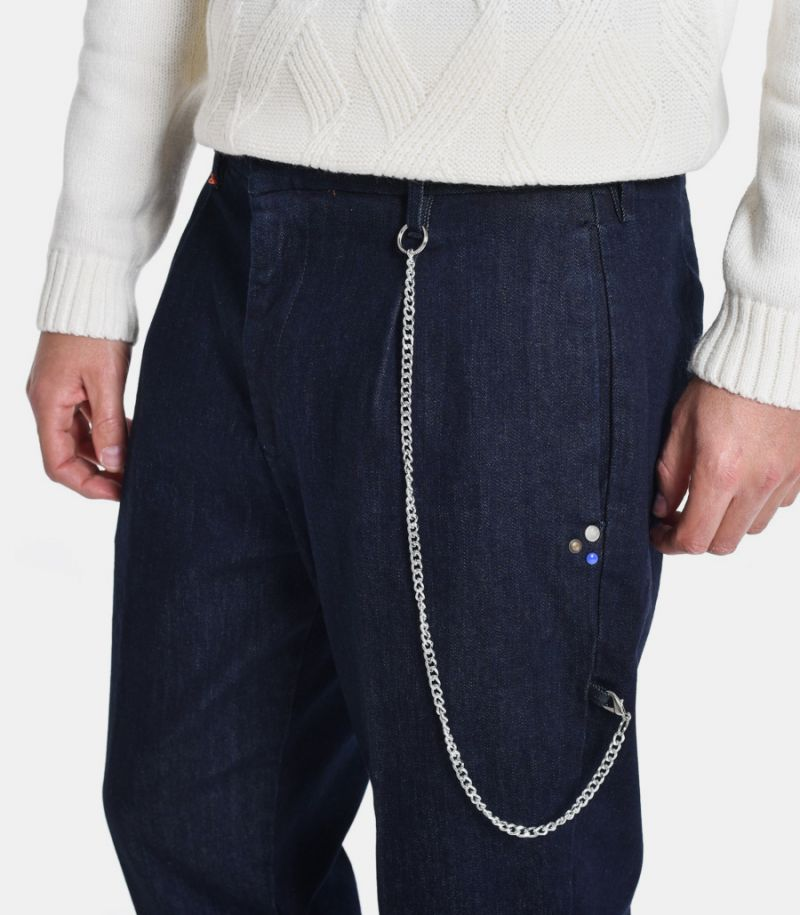 Men's jeans trousers with chain blue. M205162-30