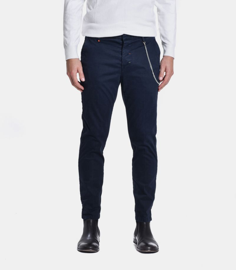 Men's basic chinos trousers with chain blue. M 205073-3