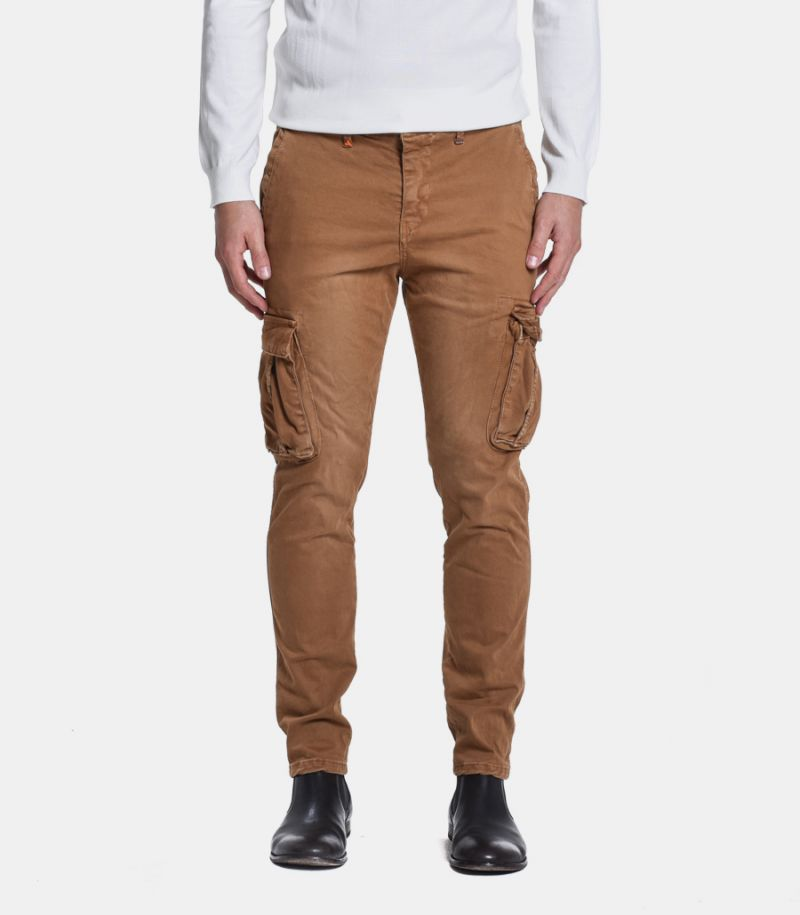 Men's cargo trousers stone wash camel. M 205057-37
