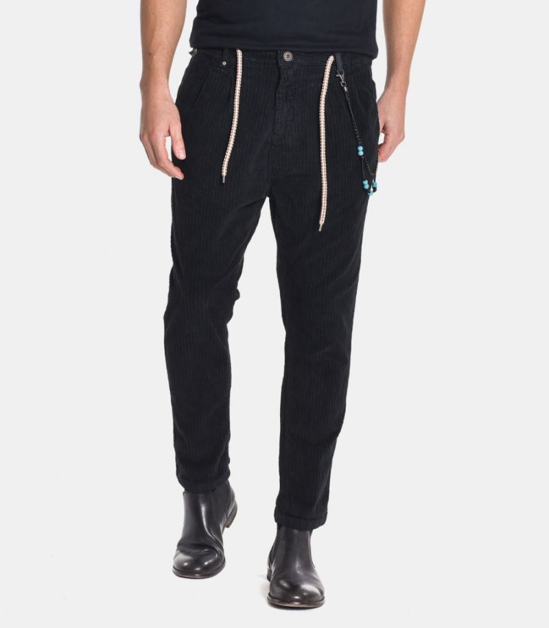 Men's lace trousers with chain black.0520BL20290001