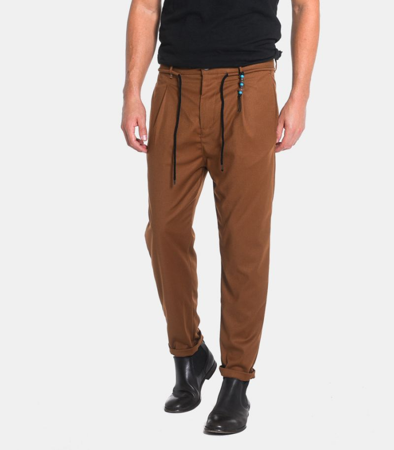 Men's lace trousers with pence brown. 05A20BL202837