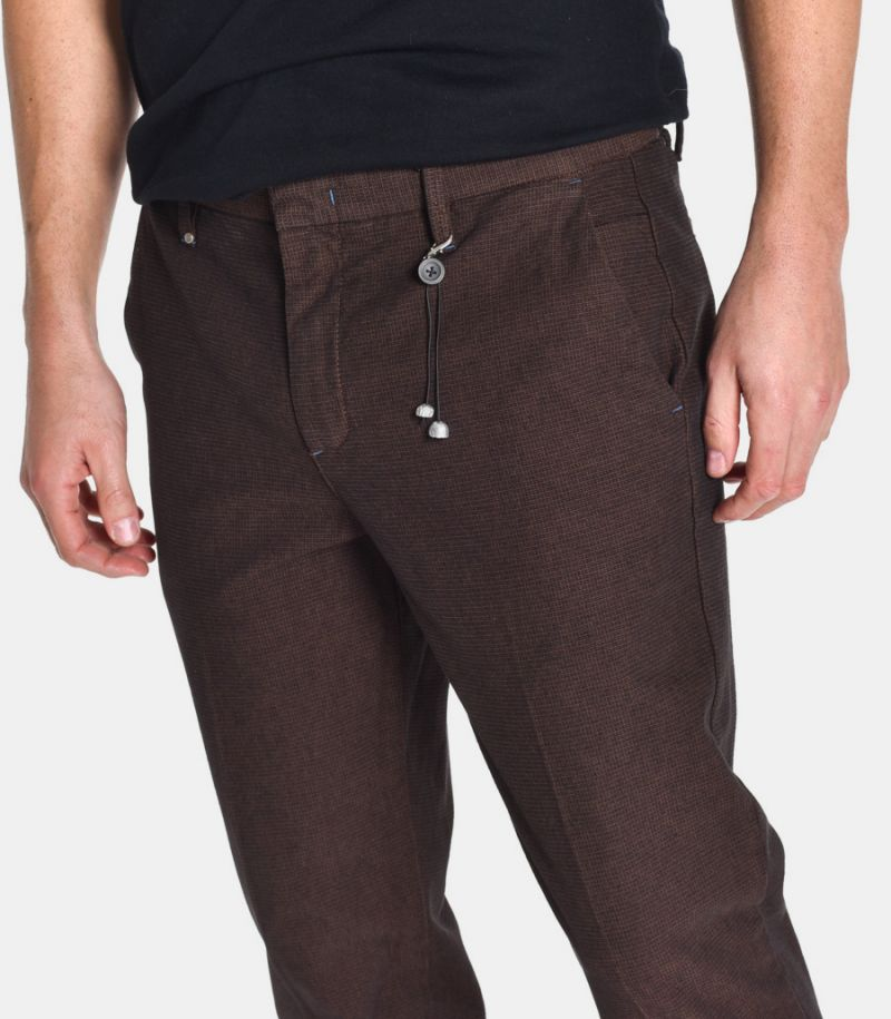 Men's chinos trousers microworked brown. 10A20PISTACCHIO109