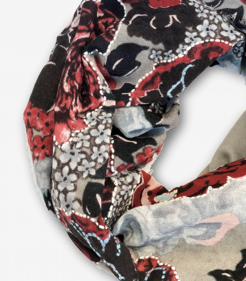 Unisex's scarf Giglio grey red. 7020GIGLIO
