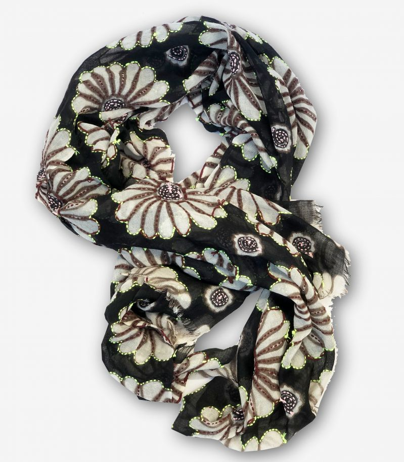 Unisex's scarf Ibisco flowers patch black. 7902IBISCO
