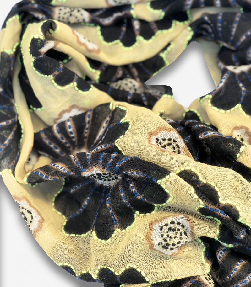 Unisex's scarf Ibisco flowers patch mustard. 7902IBISCO