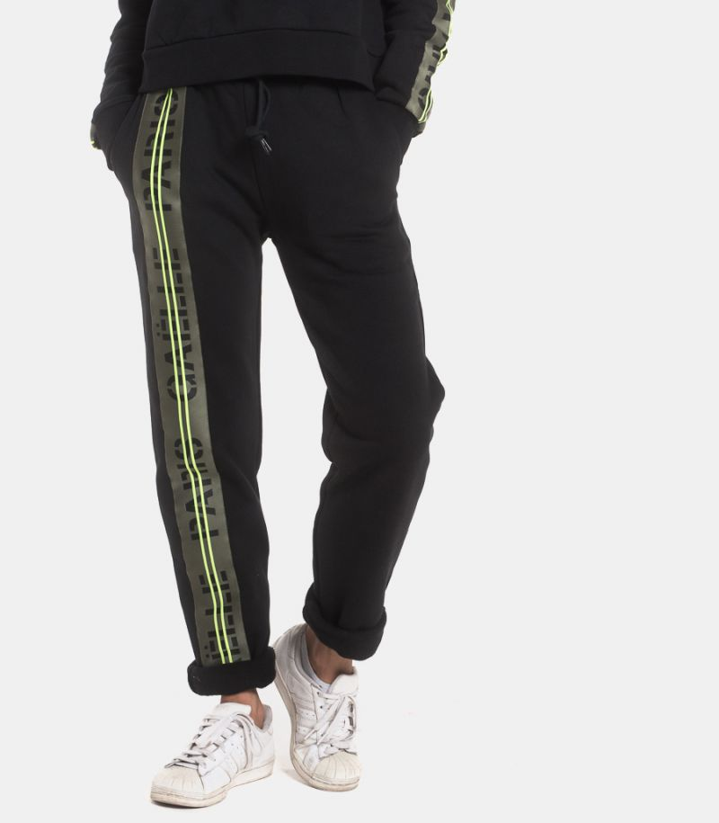 Women's taped fleece trousers logo black. GBD7063