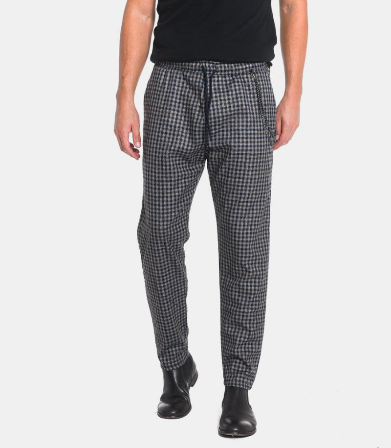 Men's checked pattern with chain trousers grey. FJ3238
