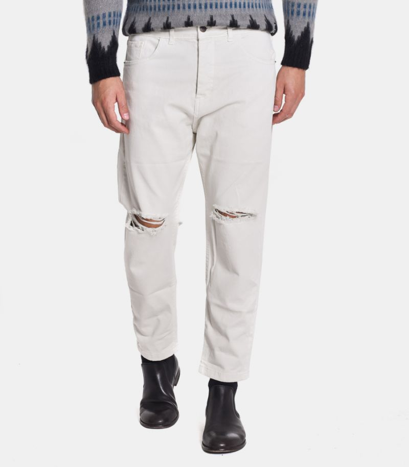 Men's basic jeans ripped white. FJ3255