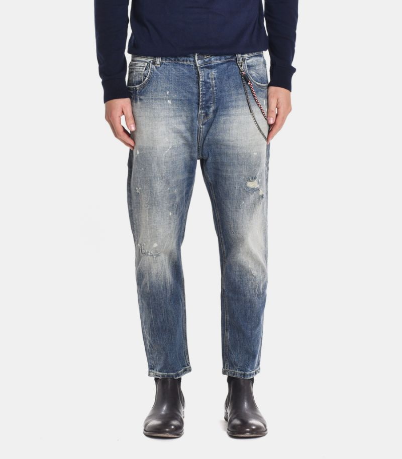 Men's denim selvedge jeans with chain blue. GL088F