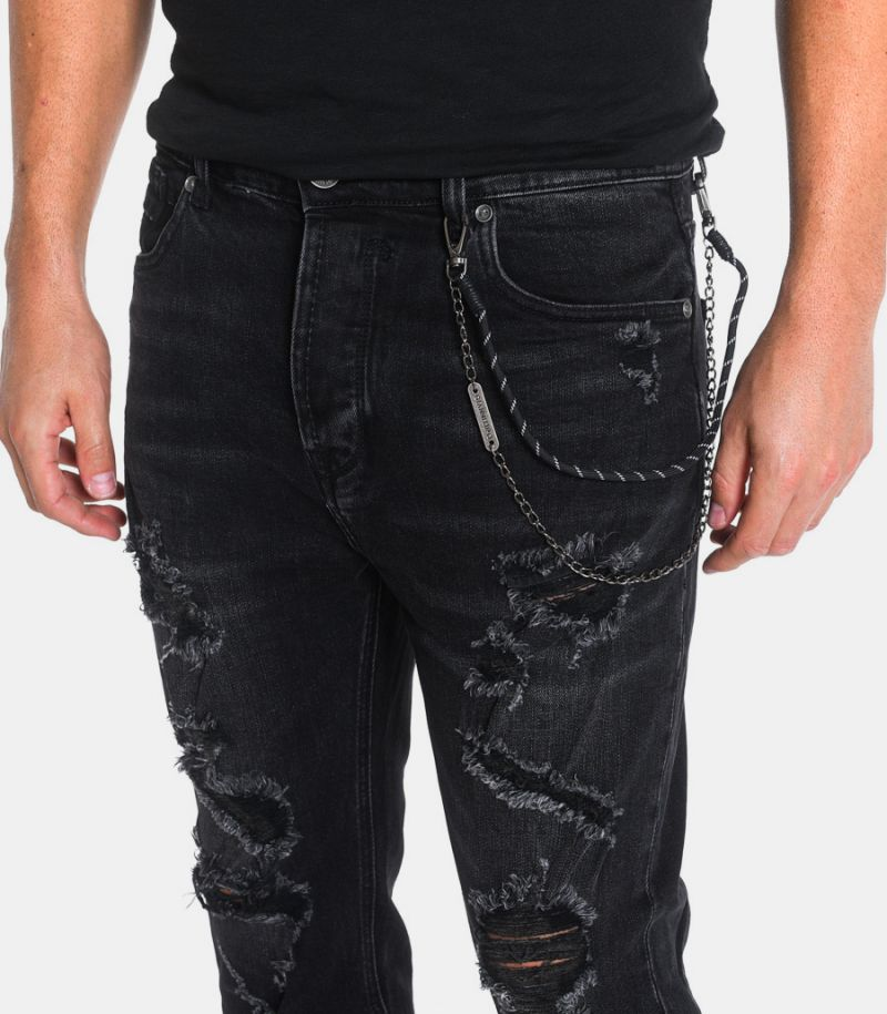 Men's ripped jeans with chain black. GL2007T