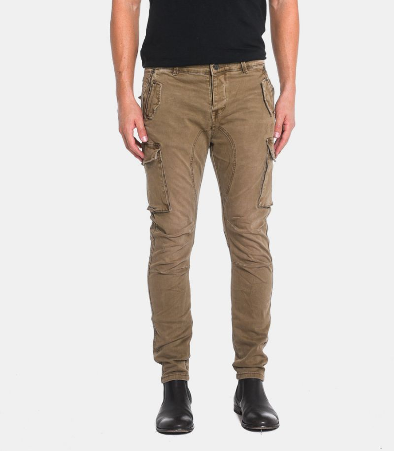 Men's stone washed cargo trousers camel. GL2363J-CLF20