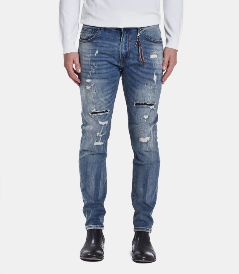 Men's selvedge ripped trousers jeans blue. GL716Y