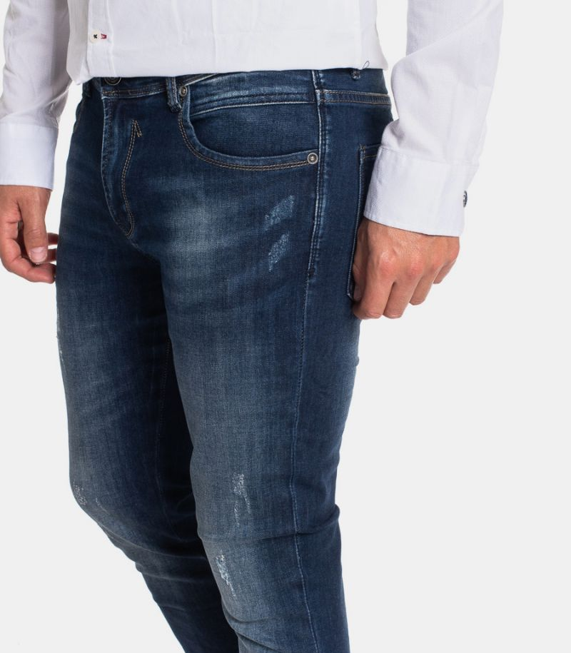 Men's selvedge and tears jeans blue. GL717Y