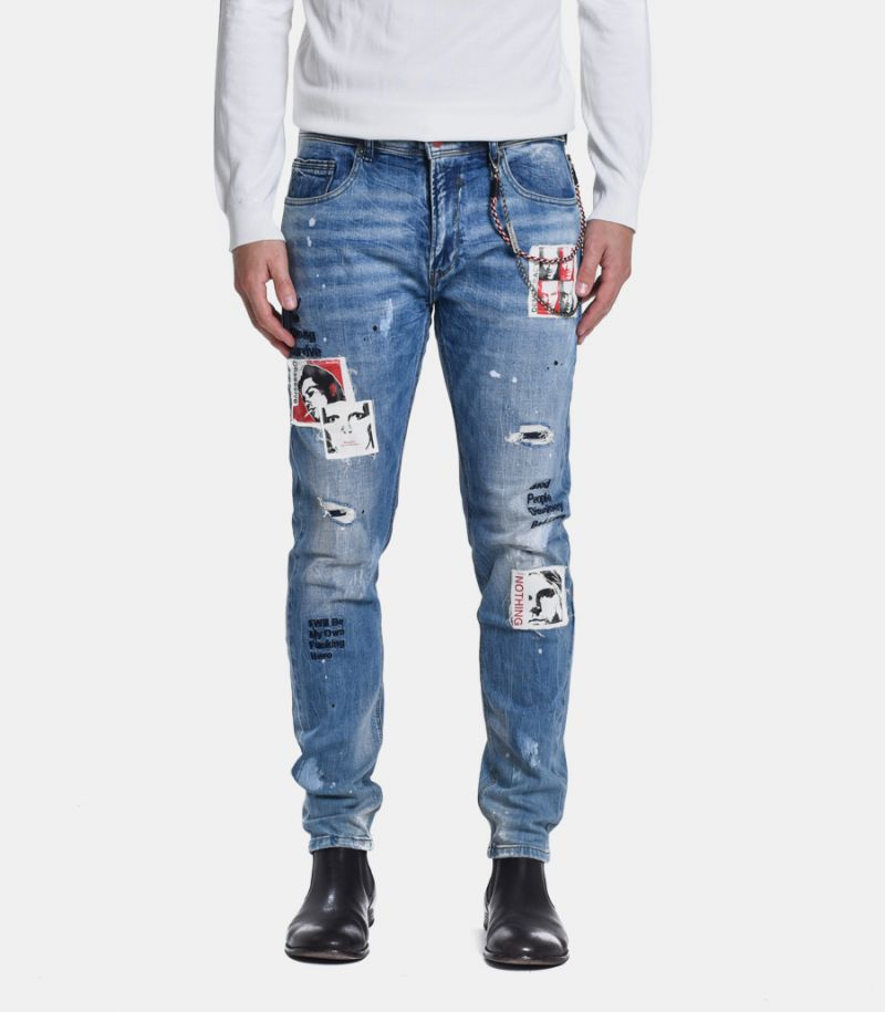 Men's denim jeans trousers with patch blue. GL719Y