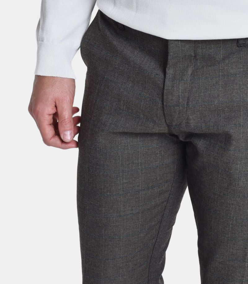Men's chinos quad pattern trousers tobacco. GN21387