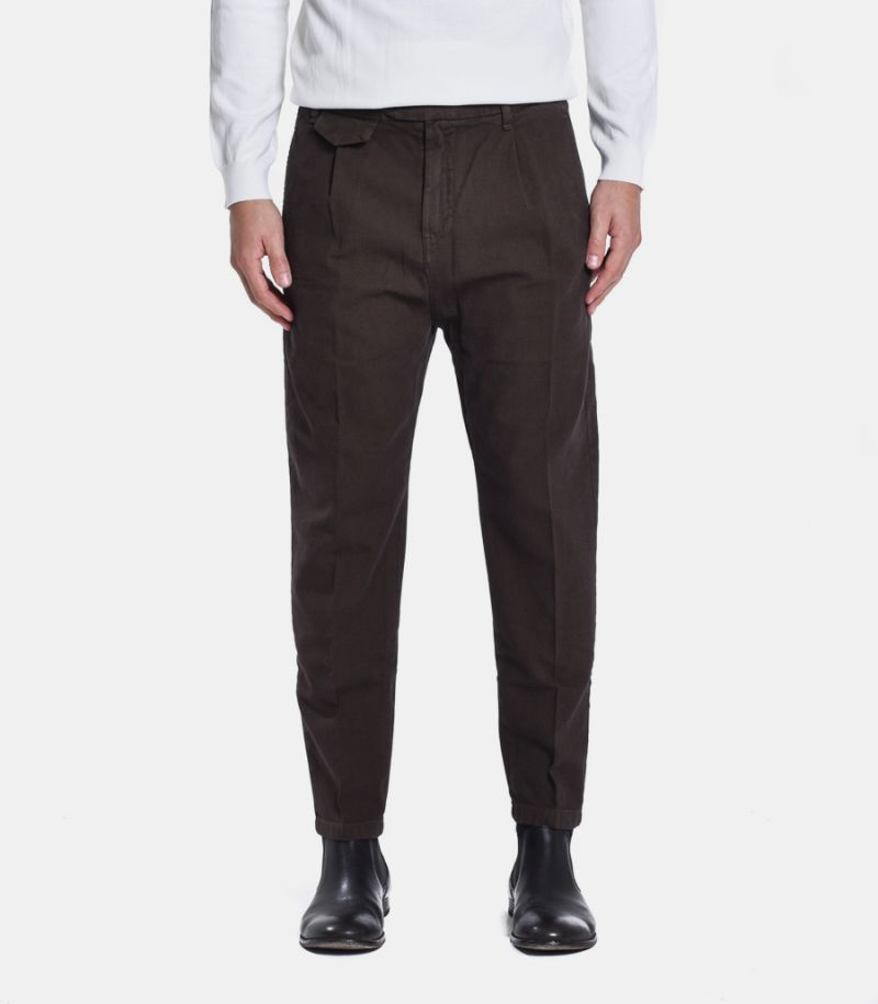 Men's chinos micropattern trousers tobacco. GN21390