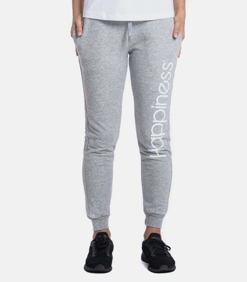 Women's fleece trousers with logo grey. CLASSIC_HAP2