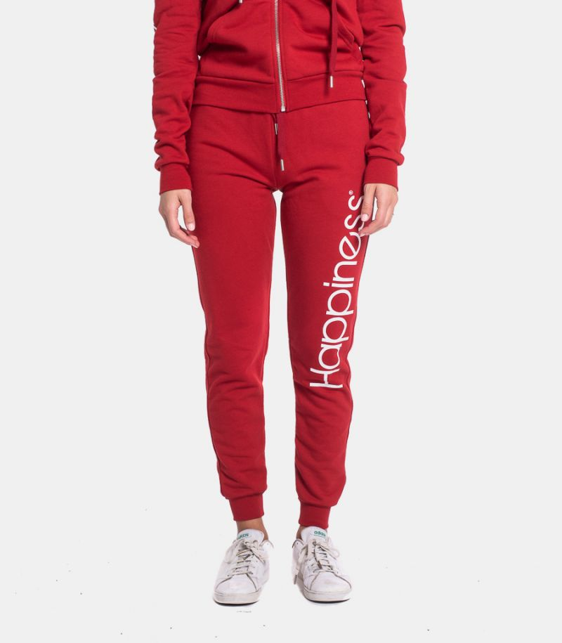 Women's fleece trousers with logo red. CLASSIC HAP2