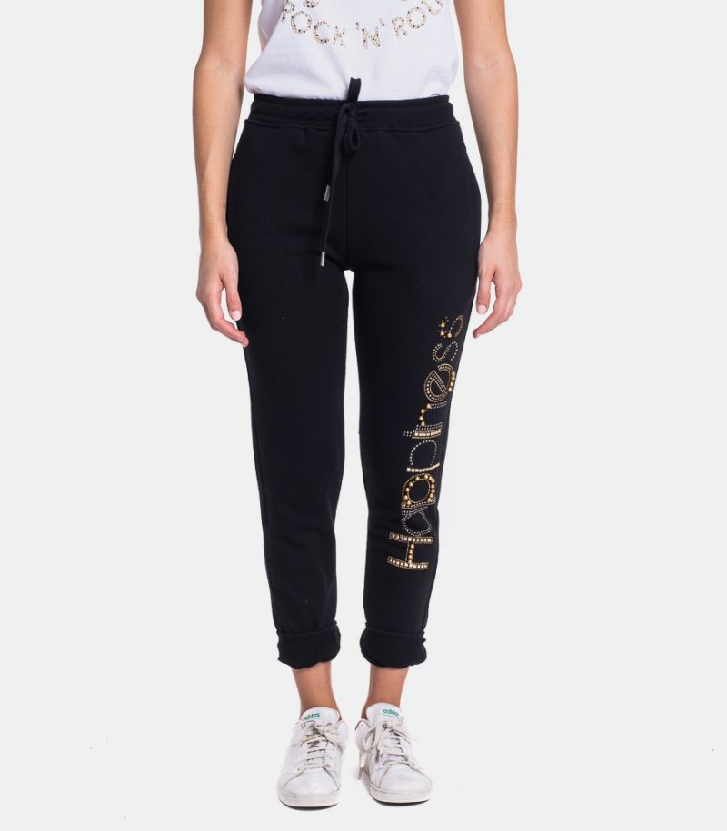 Women's fleece trousers with logo black. CLASSIC HAPSS3A