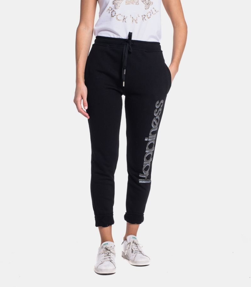 Women's fleece trousers with logo black. CLASSIC HAPSS3B