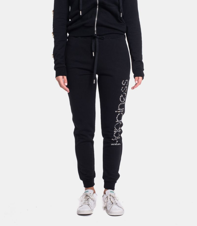 Women's fleece trousers with logo black. CLASSIC HAPSS3C