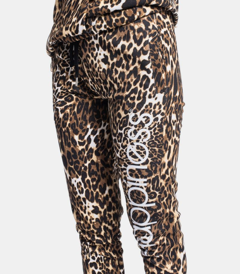 Women's fleece trousers leopard with logo. CLASSIC LEOH2