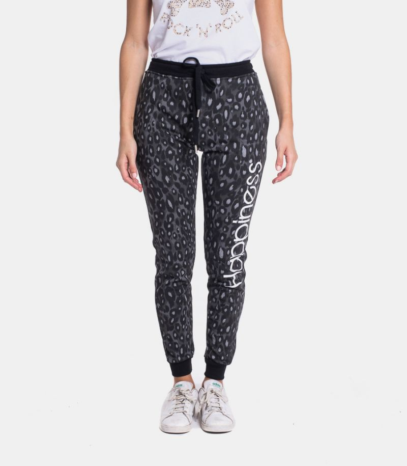 Women's fleece trousers leopard with logo black. CLASSIC LEOH2