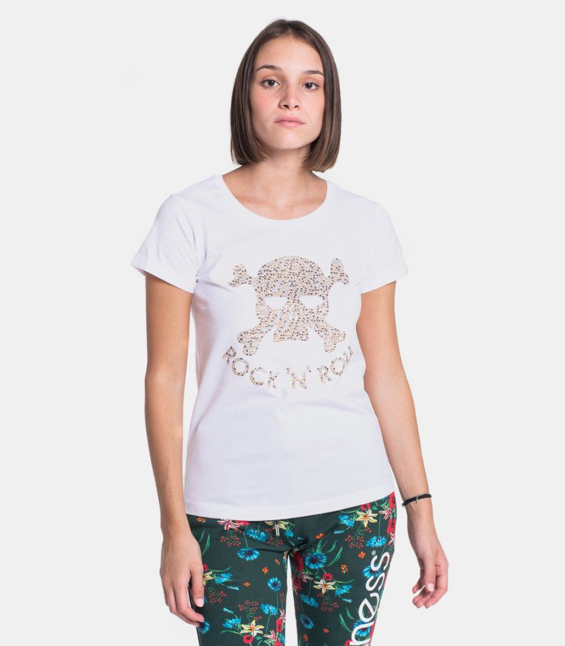 Women's Rock 'n' Roll t-shirt white. SPLDA SS3608