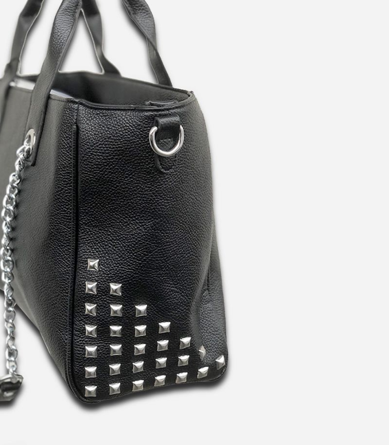 Women's bag with studs and chain balck. BOR001AG