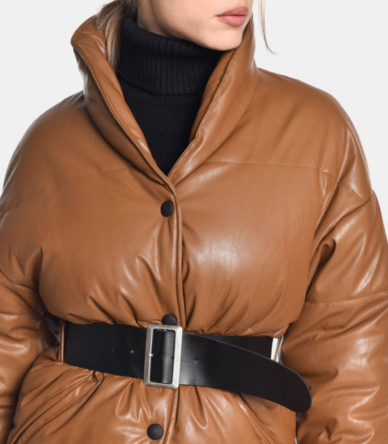 Women's quilted downjacket shawl collar coffee. I9990008K