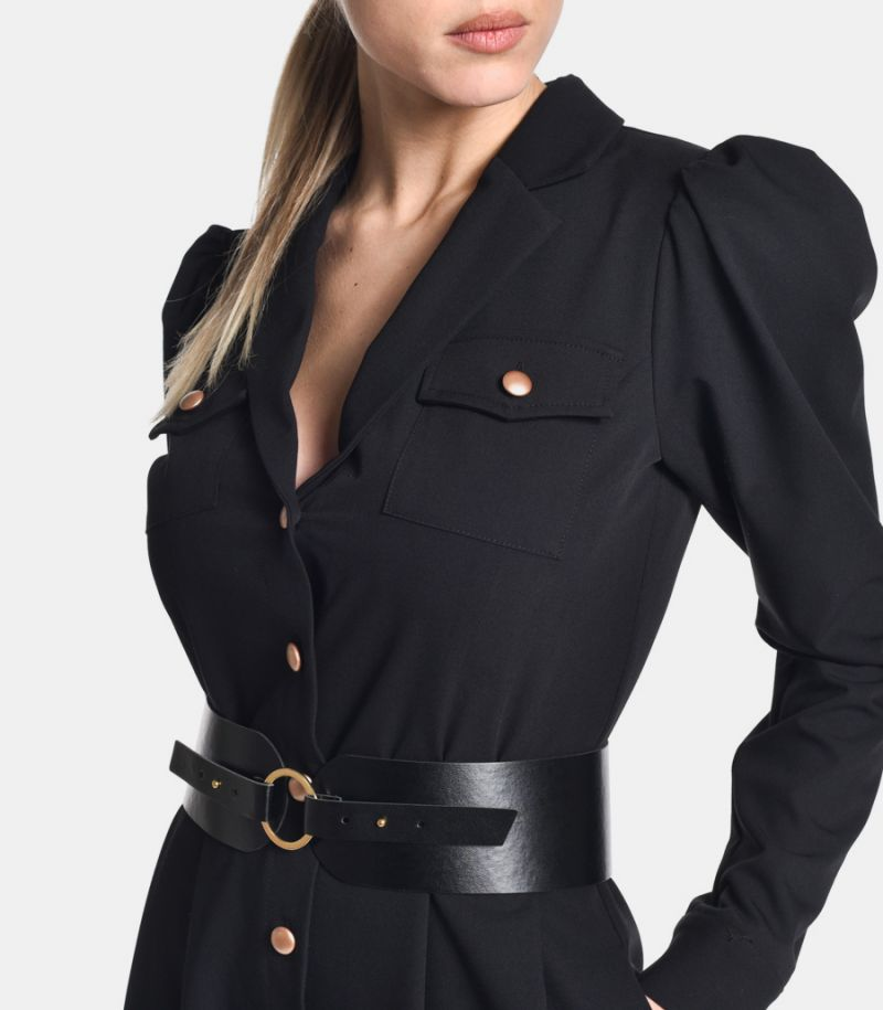 Women's long dress with eco leather belt black. Y401ABR