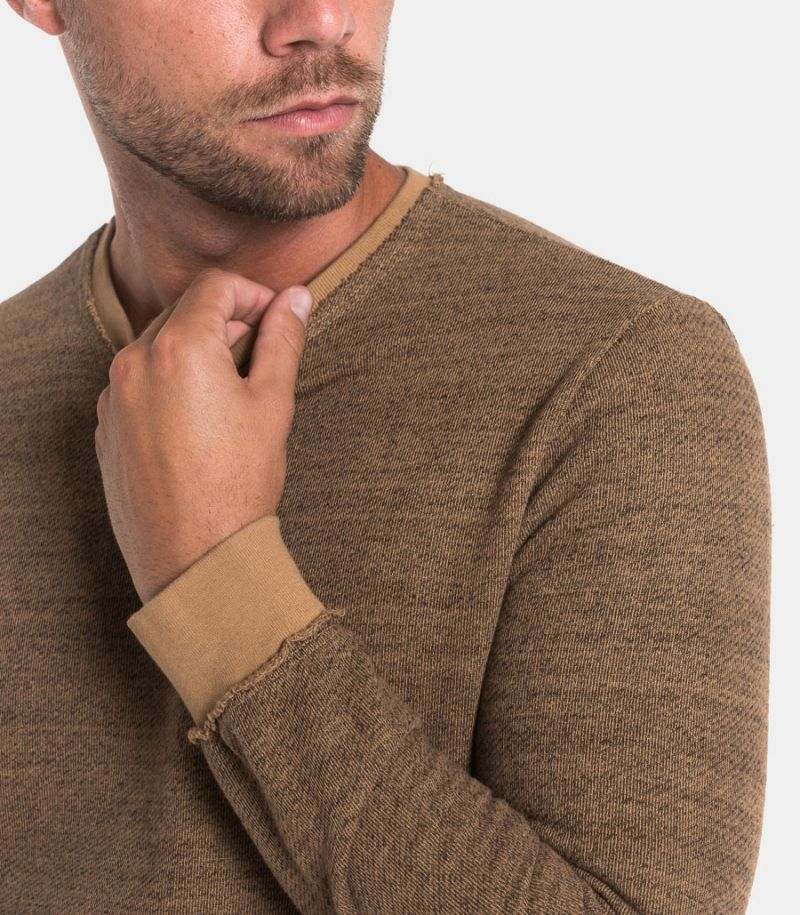 Men's raw cut sweater mud. 2162