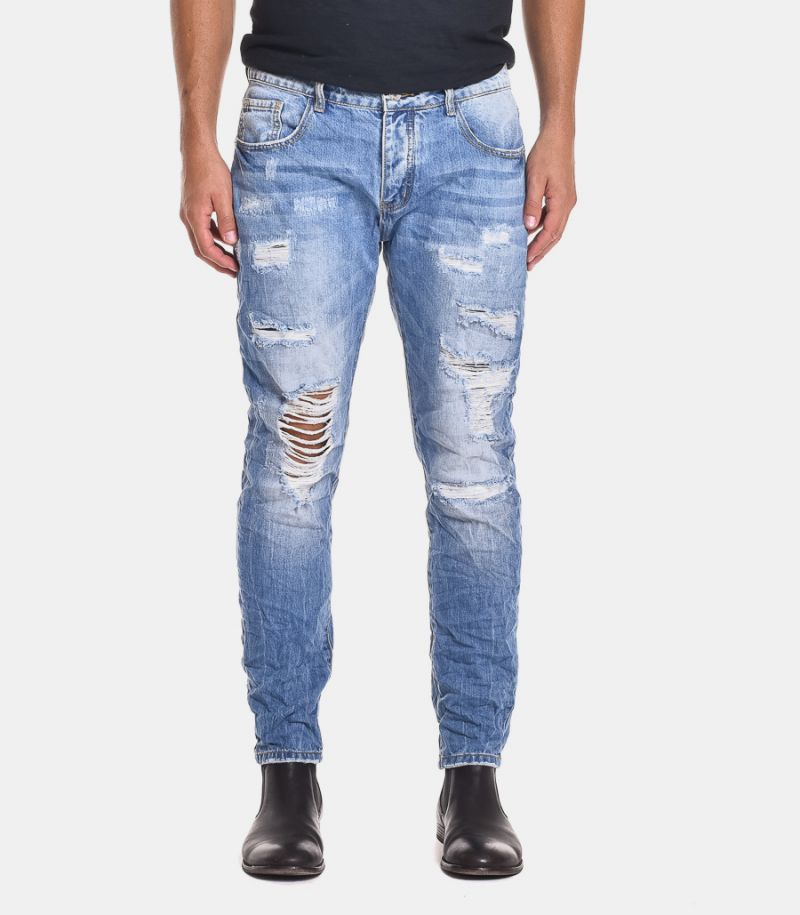 Men's ripped jeans light blue. STRAPPI01