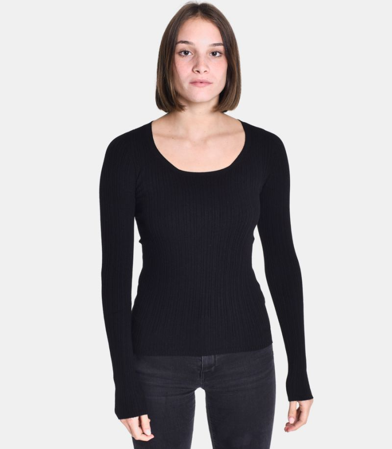 Women's boat neck ribbed black. 3M8002