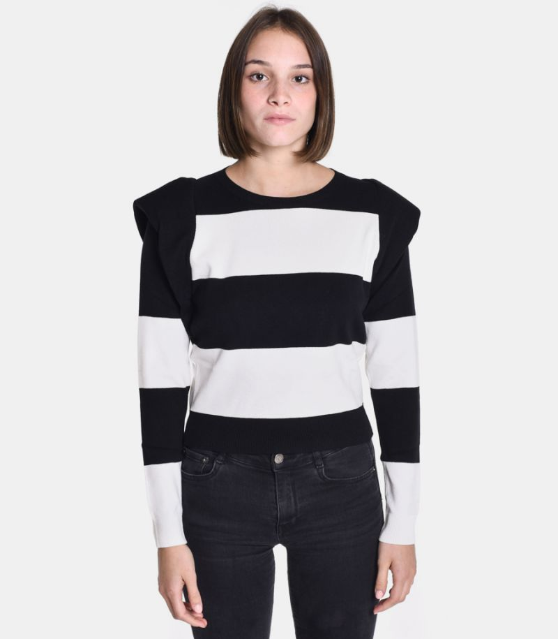 Women's puff sweater white black. 3M8059