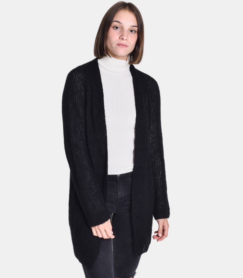 Women's long knitted cardigan black. 3M8061