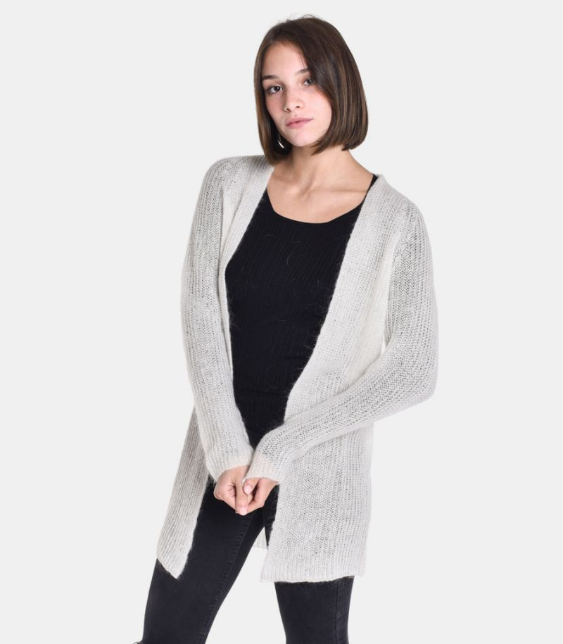 Women's long knitted cardigan cream. 3M8061