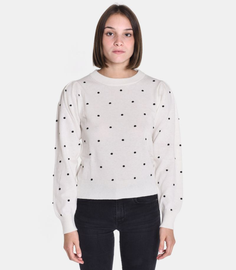 Women's pois sweater white. 3M8077