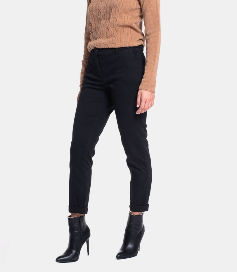 Women's chinos trousers black. TT8005