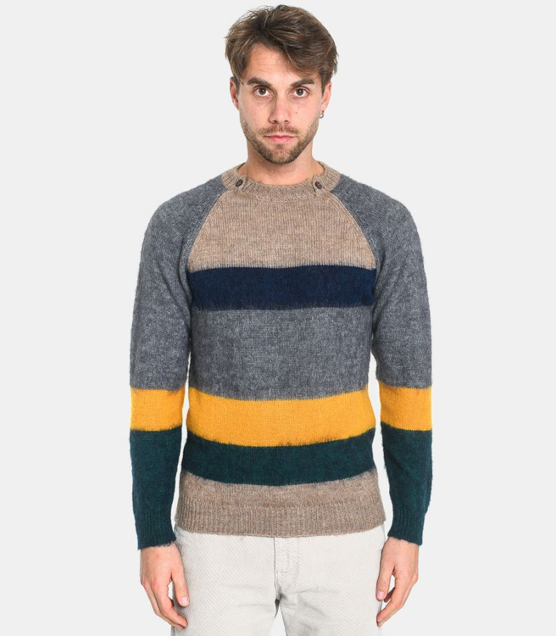 Men's multicolor with buttons sweater mud blue. C580