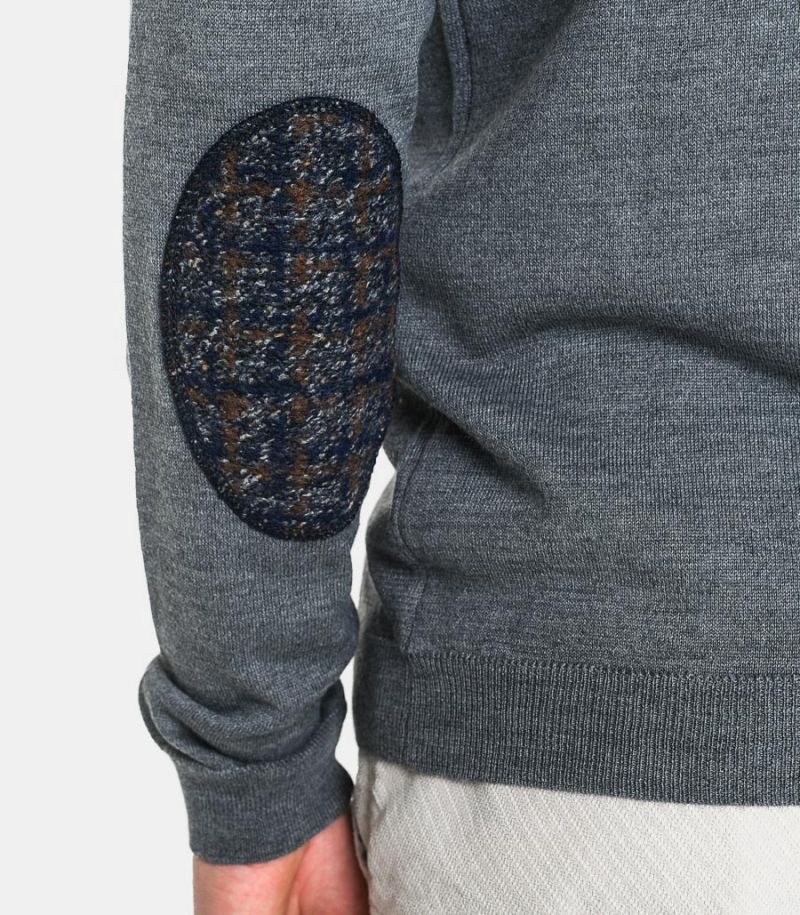 Men's knitted cardigan with elbow patches grey. C9810