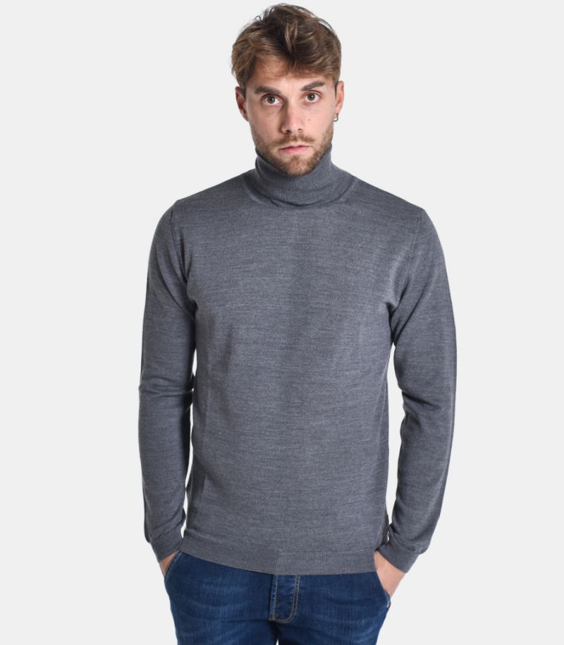 Men's high neck sweater with potches grey. C9816