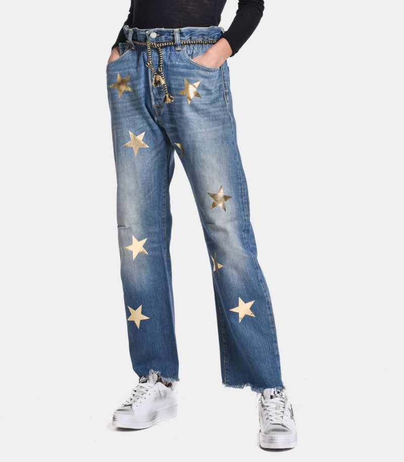 Women's high waist jeans with stars. LADY STELLA