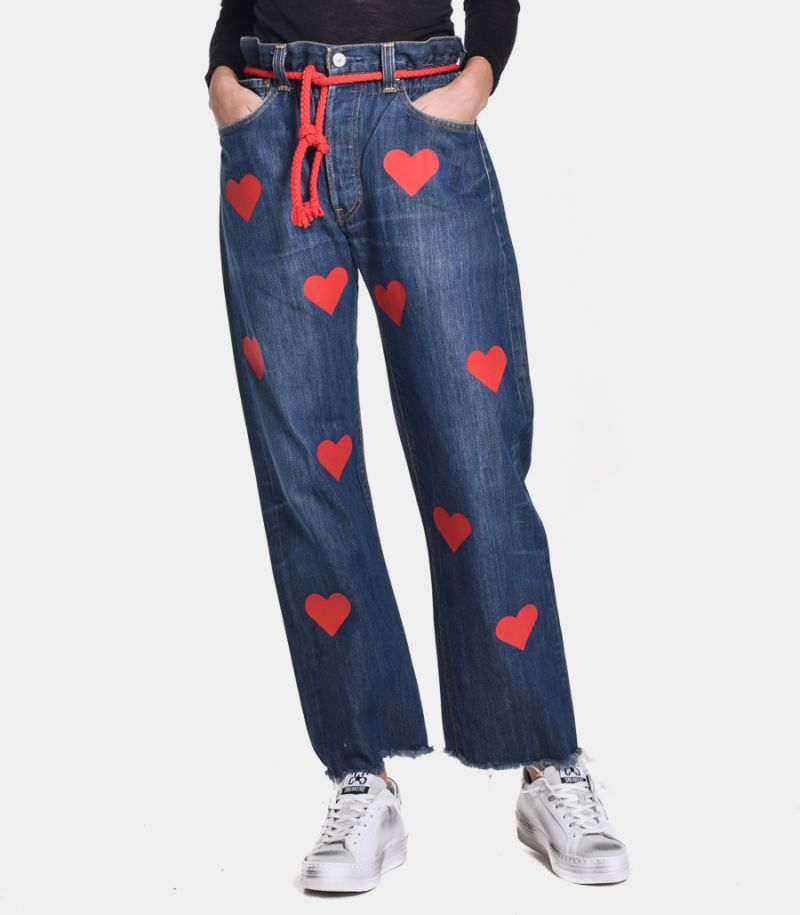 Women's high waist jeans with hearts blue. LADY STELLA