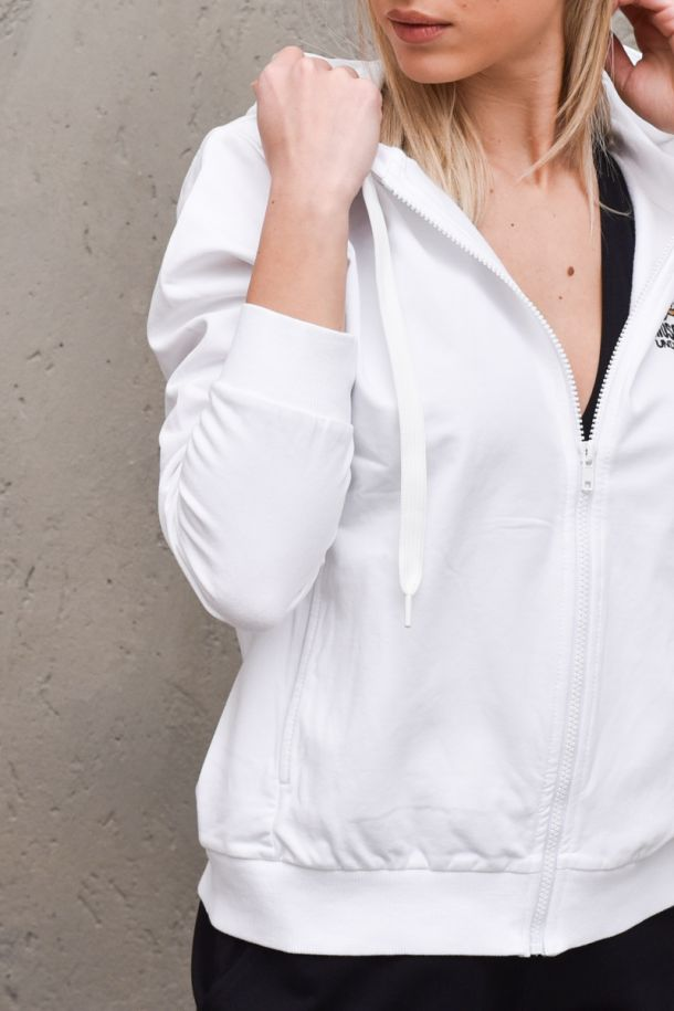 Women's hoodie swetshirt with front retro logo white. A1723BIANCO