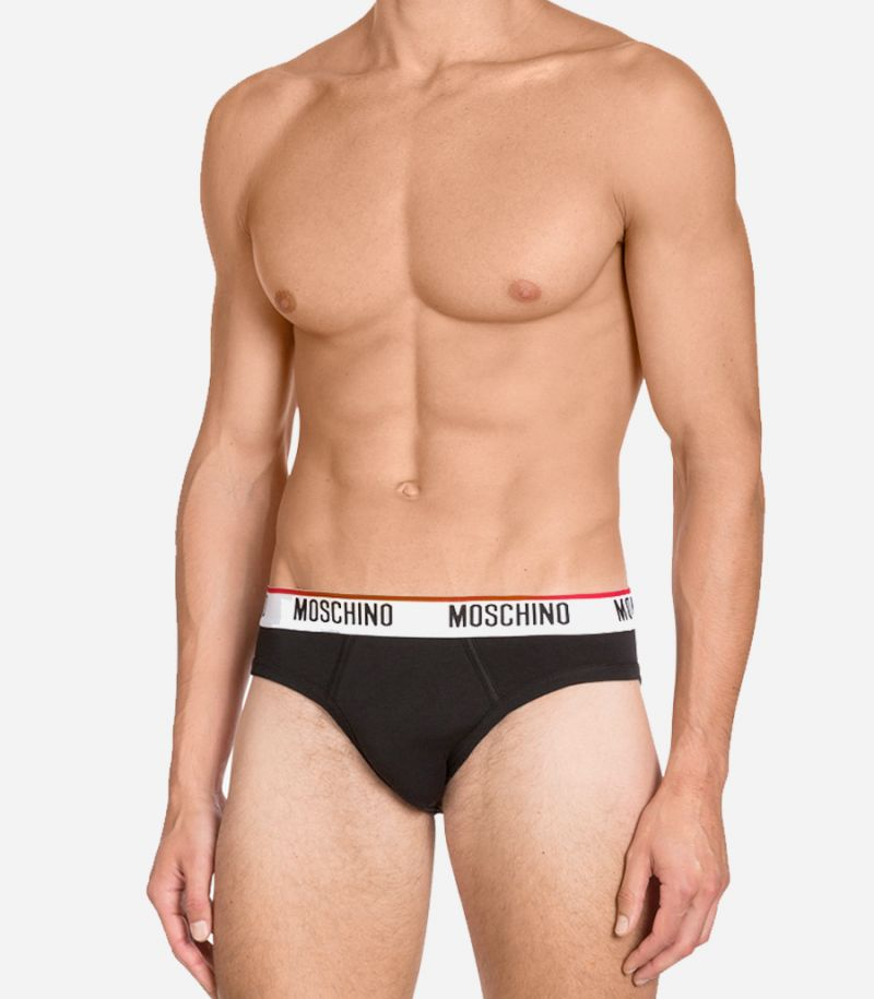 Men's set of 2 briefs with logo black. A4752